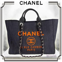 CHANEL DEAUVILLE Unisex A4 2WAY Chain Plain Elegant Style Totes