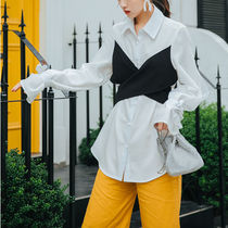 Casual Style Puffed Sleeves Bi-color Plain Medium Oversized