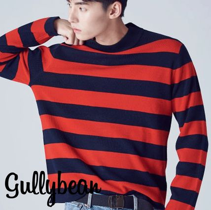 Pullovers Stripes Wool Street Style U-Neck Bi-color