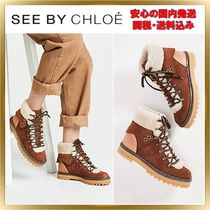 See by Chloe Round Toe Rubber Sole Lace-up Casual Style Unisex Suede