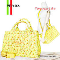 PRADA CANAPA Flower Patterns Casual Style Canvas A4 2WAY Totes