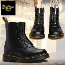 Dr Martens Round Toe Lace-up Casual Style Unisex Plain Leather