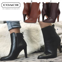 Coach Plain Leather Pin Heels Elegant Style Ankle & Booties Boots