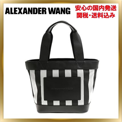Stripes Casual Style Unisex Leather Totes