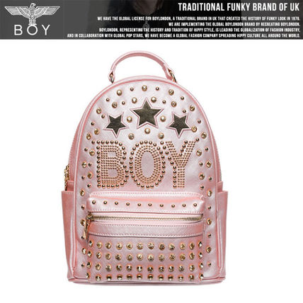 Casual Style Faux Fur Studded Vanity Bags Backpacks