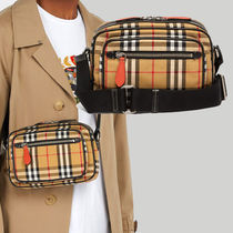 Burberry Other Check Patterns Street Style Leather Backpacks