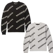 BALENCIAGA Unisex Wool Street Style Long Sleeves Plain Knits & Sweaters