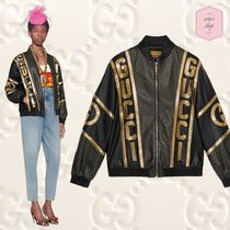 GUCCI Short Casual Style Blended Fabrics Plain Leather Oversized