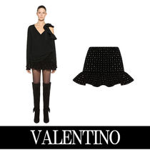 VALENTINO Flared Skirts Short Plain Cotton With Jewels Skirts