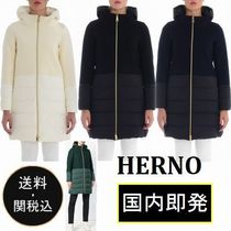 HERNO Casual Style Wool Blended Fabrics Plain Medium Down Jackets