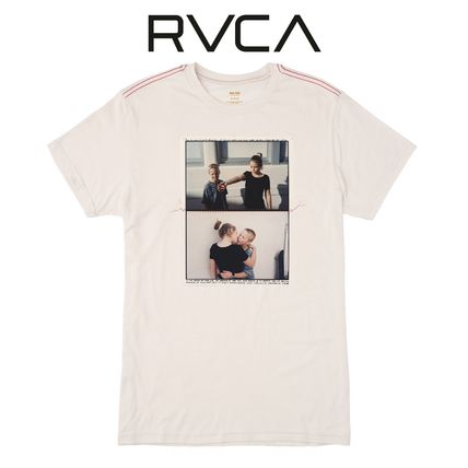 RVCA Crew Neck Crew Neck Street Style Cotton Short Sleeves