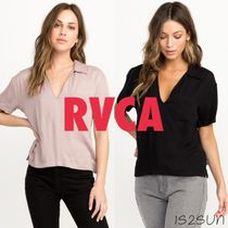 RVCA Plain Short Sleeves Office Style Shirts & Blouses