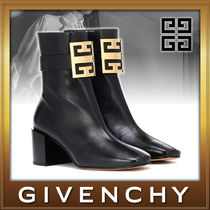 GIVENCHY Square Toe Sheepskin Street Style Plain Block Heels