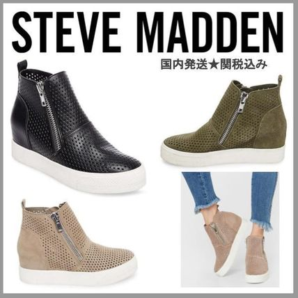d793e7c2553 Steve Madden 2018-19AW Wedge Casual Style Suede Plain Platform & Wedge  Sneakers