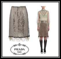 PRADA Pencil Skirts Casual Style Plain Medium With Jewels