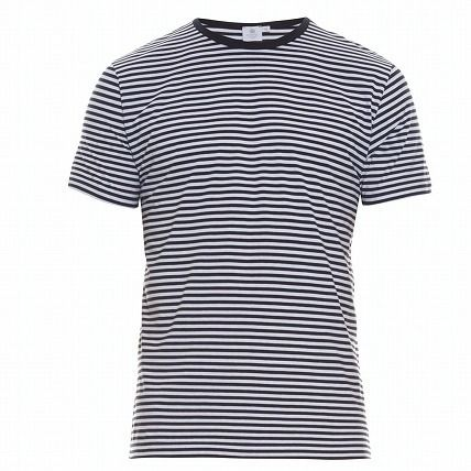 Crew Neck Stripes Cotton Short Sleeves Crew Neck T-Shirts