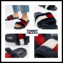 Tommy Hilfiger Open Toe Casual Style Faux Fur Street Style