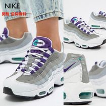 Nike AIR MAX 95 Round Toe Rubber Sole Lace-up Plain Low-Top Sneakers