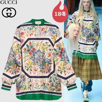 GUCCI Crew Neck Flower Patterns Silk Long Sleeves Medium