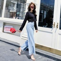 Casual Style Denim Plain Long Wide & Flared Jeans
