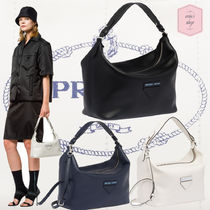 PRADA CONCEPT  Bag in Bag Plain Leather Elegant Style Shoulder Bags