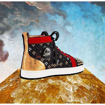 Christian Louboutin Flower Patterns Suede Blended Fabrics Studded Street Style