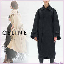 CELINE Stand Collar Coats Wool Bi-color Plain Long Elegant Style