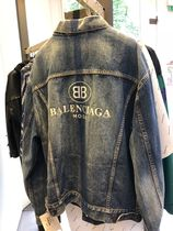 BALENCIAGA Unisex Denim Long Denim Jackets Oversized Jackets