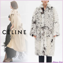 CELINE Fur Plain Long Shearling Cashmere & Fur Coats