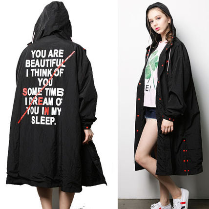 Casual Style Studded Long Raincoat Outerwear
