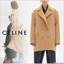 CELINE Casual Style Wool Plain Medium Oversized Peacoats