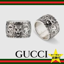 GUCCI Street Style Other Animal Patterns Silver Rings
