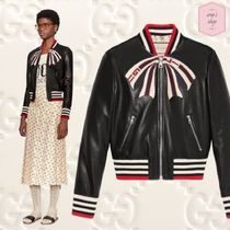 GUCCI Short Blended Fabrics Plain Leather Varsity Jackets