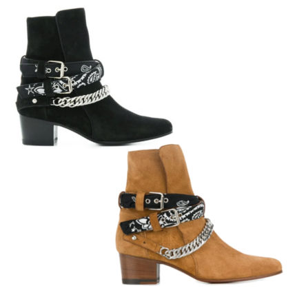 Paisley Casual Style Suede Street Style Chain Mid Heel Boots
