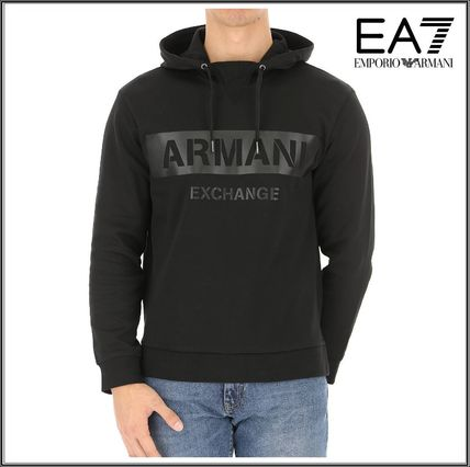 EMPORIO ARMANI Hoodies Street Style Long Sleeves Plain Cotton Hoodies