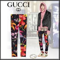 GUCCI Printed Pants Flower Patterns Unisex Street Style