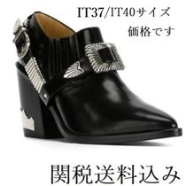 TOGA Casual Style Studded Plain Leather Chunky Heels