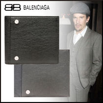 BALENCIAGA Unisex Lambskin Studded Plain Folding Wallets