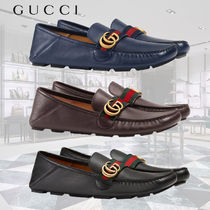 GUCCI Stripes Driving Shoes Plain Leather Loafers & Slip-ons