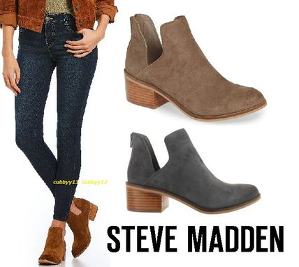 25f95b077d8 Steve Madden Ankle   Booties Round Toe Casual Style Suede Street Style Plain  ...