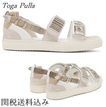 TOGA Open Toe Platform Casual Style Studded Plain Leather