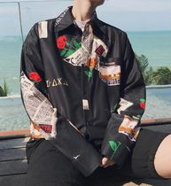 Button-down Flower Patterns Street Style Long Sleeves