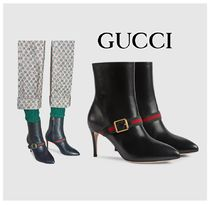 GUCCI Sylvie Plain Leather Pin Heels Elegant Style Ankle & Booties Boots