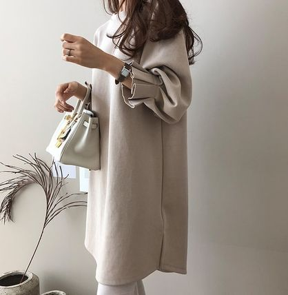 U-Neck Plain Cotton Puff Sleeves Dresses