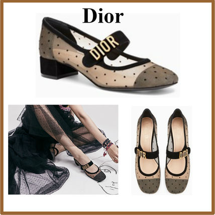 Dots Round Toe Block Heels Elegant Style Ballet Shoes
