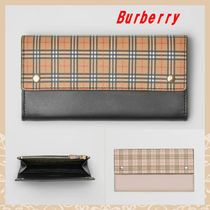 Burberry Other Check Patterns Unisex Street Style Plain Leather
