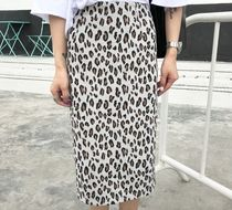 Pencil Skirts Leopard Patterns Cotton Medium Elegant Style