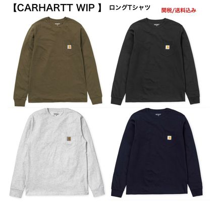 Carhartt Long Sleeve Street Style Long Sleeves Plain Cotton Long Sleeve T-Shirts