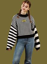 UNIF Clothing Crew Neck Cable Knit Stripes Casual Style Unisex