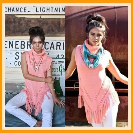 Sleeveless Plain Cotton Medium Fringes Tanks & Camisoles